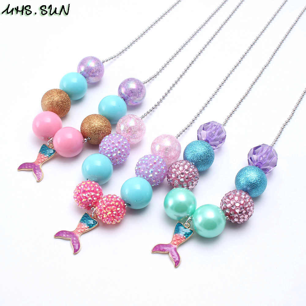 MHS.SUN 3 Style New Mermaid tail pendant necklace baby chunky bubblegum jewelry necklace fashion chain necklace for kids