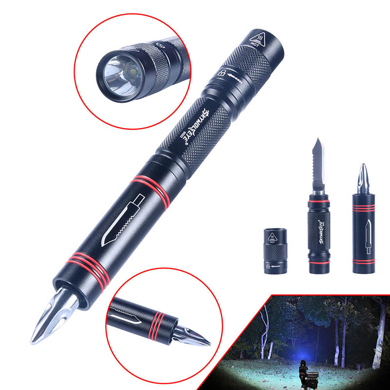 New Hot Multifunction Rechargeable LED Flashlight Torch Super Bright Light Lamp with Blades Emergency Tool