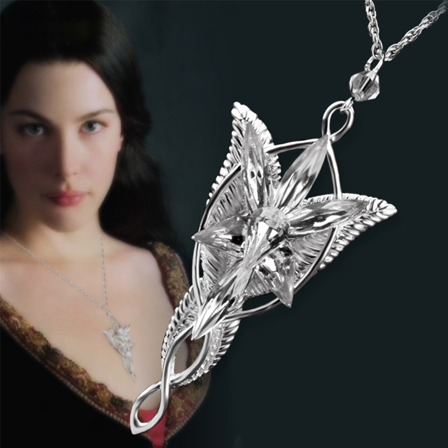 Bahamut LOTR 925 Sterling Argent Arwen etoile du soir collier pendentif en argent Bijoux cadeaux pour Femmes collier de pull Filles présent