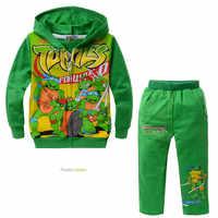 DLF 2-8Y jesień Ninja dres żółwie Party stroje butikowe zestaw ubrań dla dzieci dziewczyna płaszcz kurtka dla dzieci spodnie 2 sztuk Sportwear
