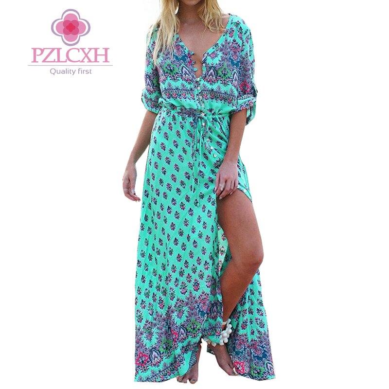 PZLCXH Sommerhalbhülse Vintage Frauen Lange Print Strandkleid tiefem V-ausschnitt Boho Chic Bohemian Kleider Ethnische Plus Größe ZB160