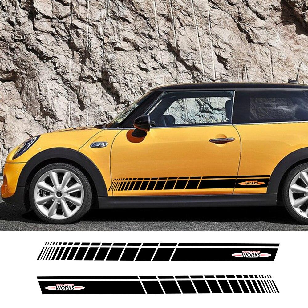 2 pçs porta lateral do carro saia jcw decalque adesivos de corrida listras decoração para mini john cooper funciona r56 r58 r59 f57 f56 hatchback