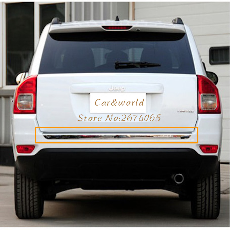 Stainless  Accessories For Jeep Compass 2017 Rear Bumper Bar Cover Trim Tail Decoration 2018 Car-styling car rear trunk security shield cargo cover for jeep compass 2007 2008 2009 2010 2011 high qualit auto accessories