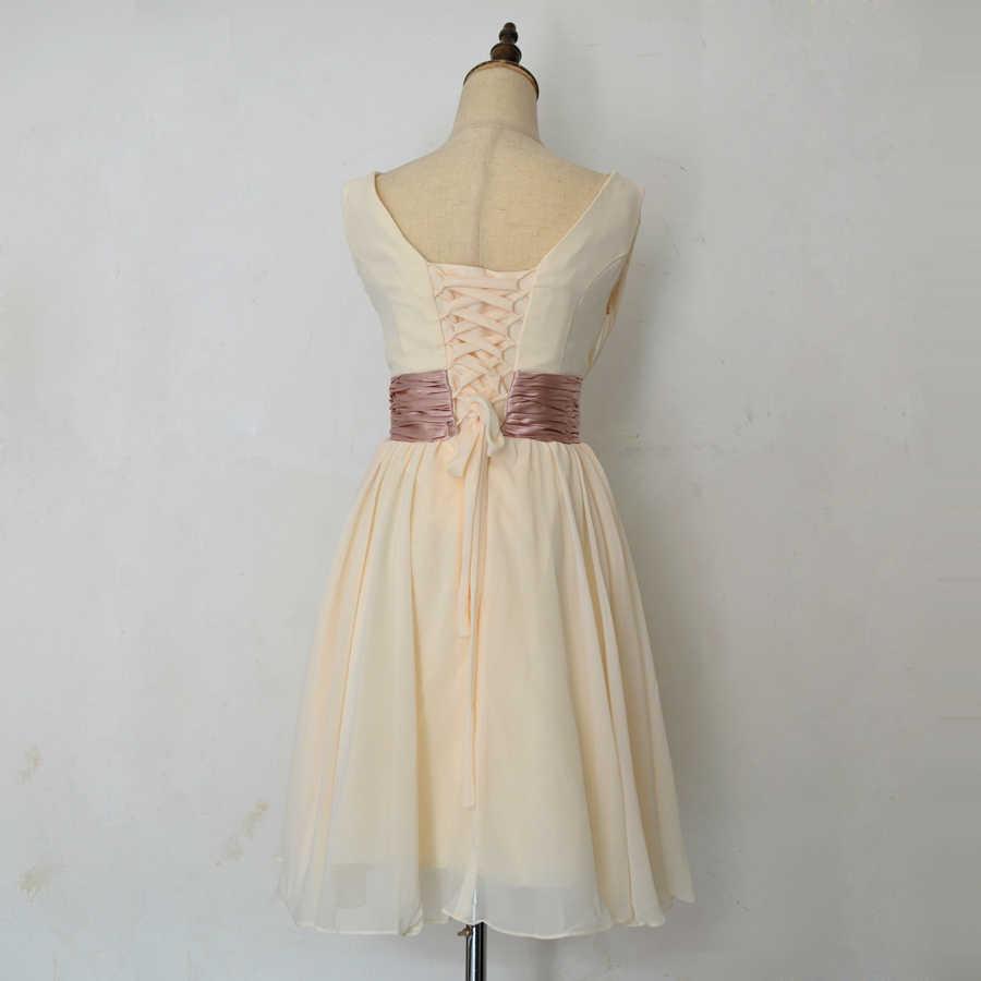 رداء دي roiree مزدوج الكتف بسيط بلون الطية الشيفون قصيرة فساتين السهرة أم فستان العروس