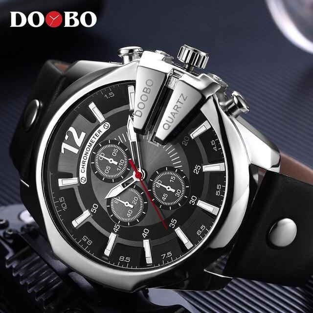 3439b085a09 DOOBO Homens Relógios Top Marca de Luxo de Ouro Masculino Relógio de Moda  Pulseira de Couro