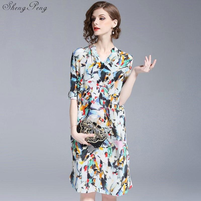 3381ec9beeb Элегантный Для женщин прямое платье 2018 Новый стиль с цветочным принтом  драпированные Ближний Платье Для женщин