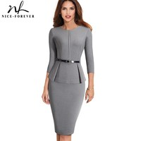 Nice forever Vintage Elegant Wear to Work with Belt Peplum vestidos Business Party Bodycon Office Career Women Dress B473
