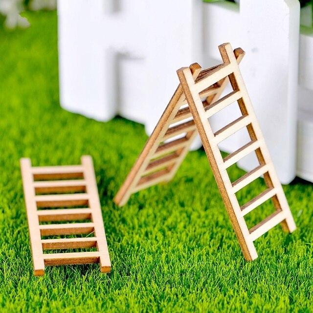 decorations pour le corridor 1Pcs New wooden steps corridors ladder DIY Resin Fairy Garden Craft  Decoration Miniature Micro Gnome Terrarium Gift F1019