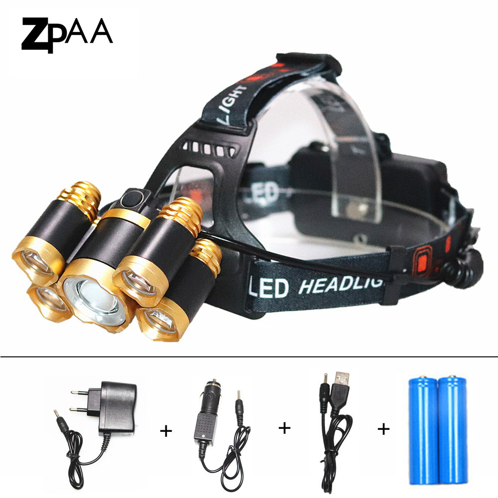 High Power Rechargeable 15000Lm XML T6 LED Headlight Headlamp Head Lamp Light T6+R5 4 mode Torch Portable Hunting Fishing Light 3 xml t6 2 blue light led headlamp 15000lm usb rechargerable led headlight head lamp 5 mode head torch for fishing lantern light
