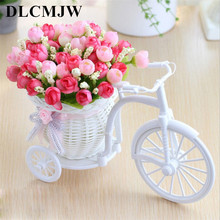 Artificial flowers Silk Roses plastic bicycle desktop decorative Rose bonsai plant Fake for Wedding