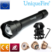 UniqueFire UF 1501 CREE XM L2 Led White Light Zoomable Flashlight With IR 940nm, XPE Green & Red Light Led Pill and Scope Mount