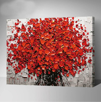 Hot Selling DIY Home Decor With Frame Pictures Painting By Numbers Modern Knife Red Flower Digital