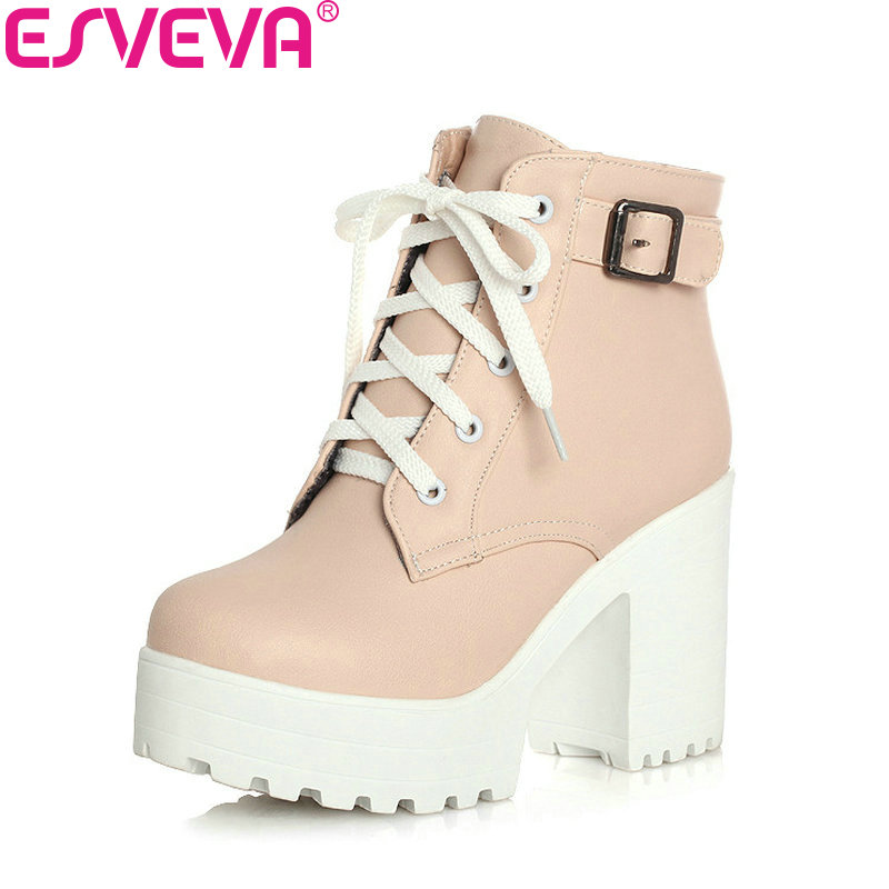 цены Buckle Square High Heels Lace Up Ankle Lady Fashion Boots Round Toe Platform Short Plush Winter Women Shoes Size 33--43 Pink