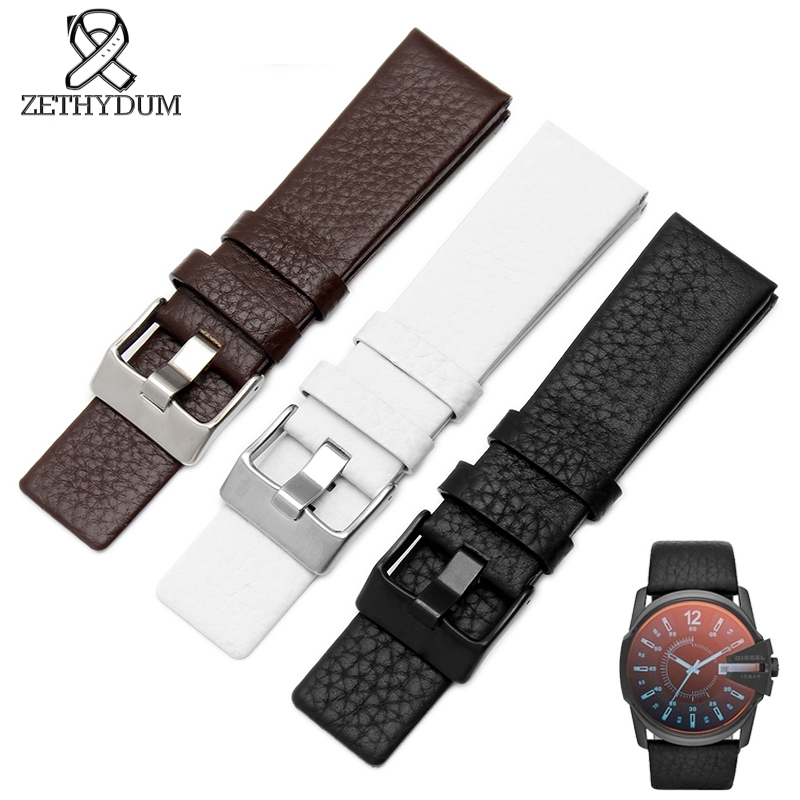 Leather strap watchband 22 24 26 27 28 30mm watch bracelet For diesel watches band black genuine leather band