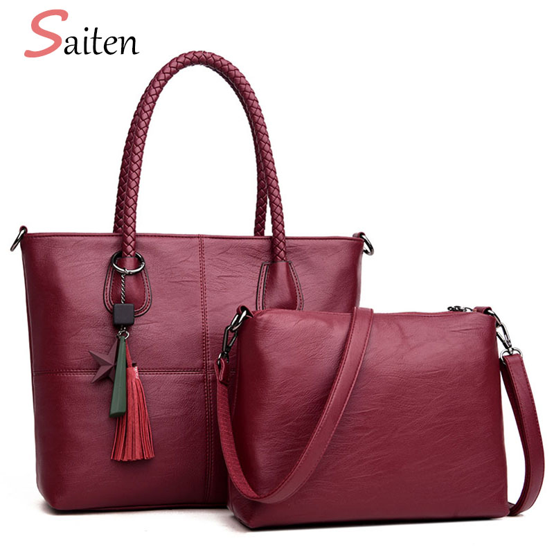 Luxury Tassel Handbags Women Bag With Star High Quality Leather Women Shoulder Bags Large Capacity Ladies Tote Bags Sac A Main women patent leather handbags ladies candy color luxury large tote bag ladies smiley shoulder bags high quality 2016 bolsas