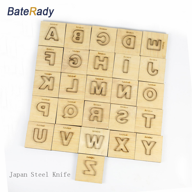 ინგლისური ანბანი 26pcs ზედა ყბის ლაზერული ნაჭრის დიზელის კომპლექტებისთვის, BateRady DIY ტყავის ლაზერული დანა იღუპება, იაპონია ფოლადის დანა