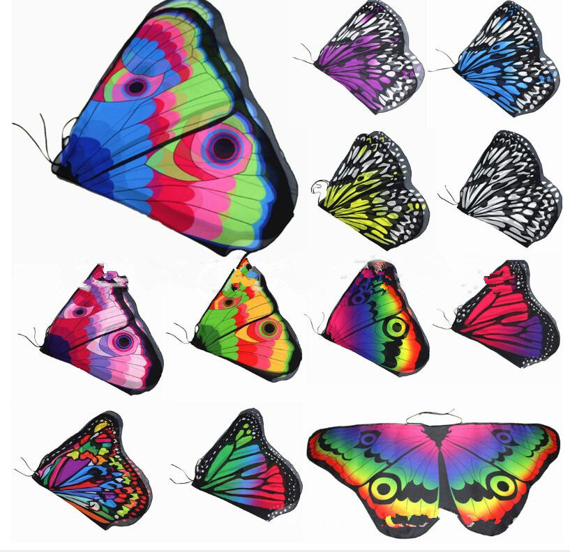 Girls Butterfly Wings Shawl Cape Scarf Fabric Dance Wing Dress Up Costume Accessary Children Satge Pros Cheap Free Shipping