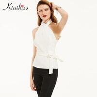 Kinikiss Mulheres Halter Camisas Tops Branco Elegante Senhora Do Escritório Blusa Sem Encosto Preto Cinto Irregular Sexy Blusa Sem Mangas Camisas