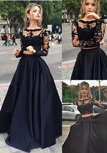 Black Two Pieces Evening Dress 2016 Scoop Long Sleeve Lace Prom Dresses Top Graduation Party Gown Custom made