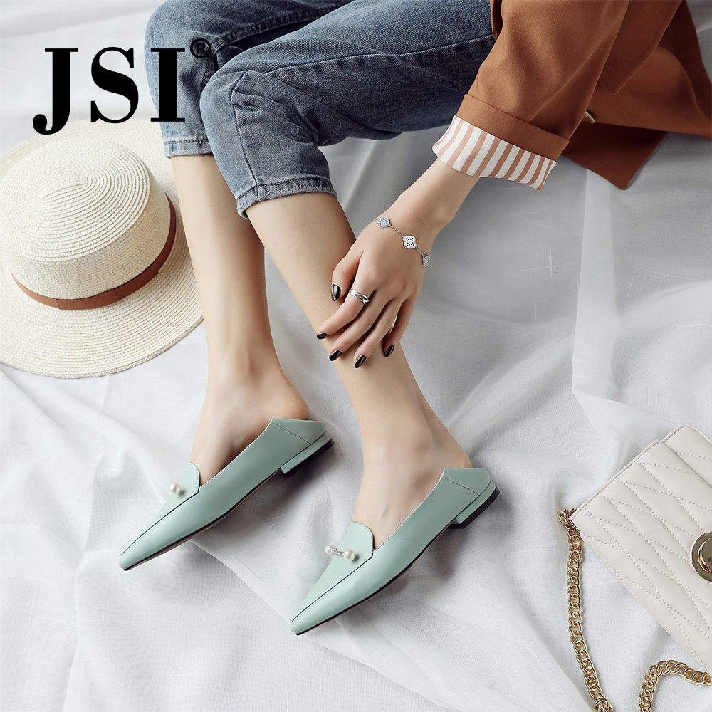 JSI Brand Cow Leather Flats Sexy Pointed Toe Fashion Low Heels Shoes Woman Quality Slip on