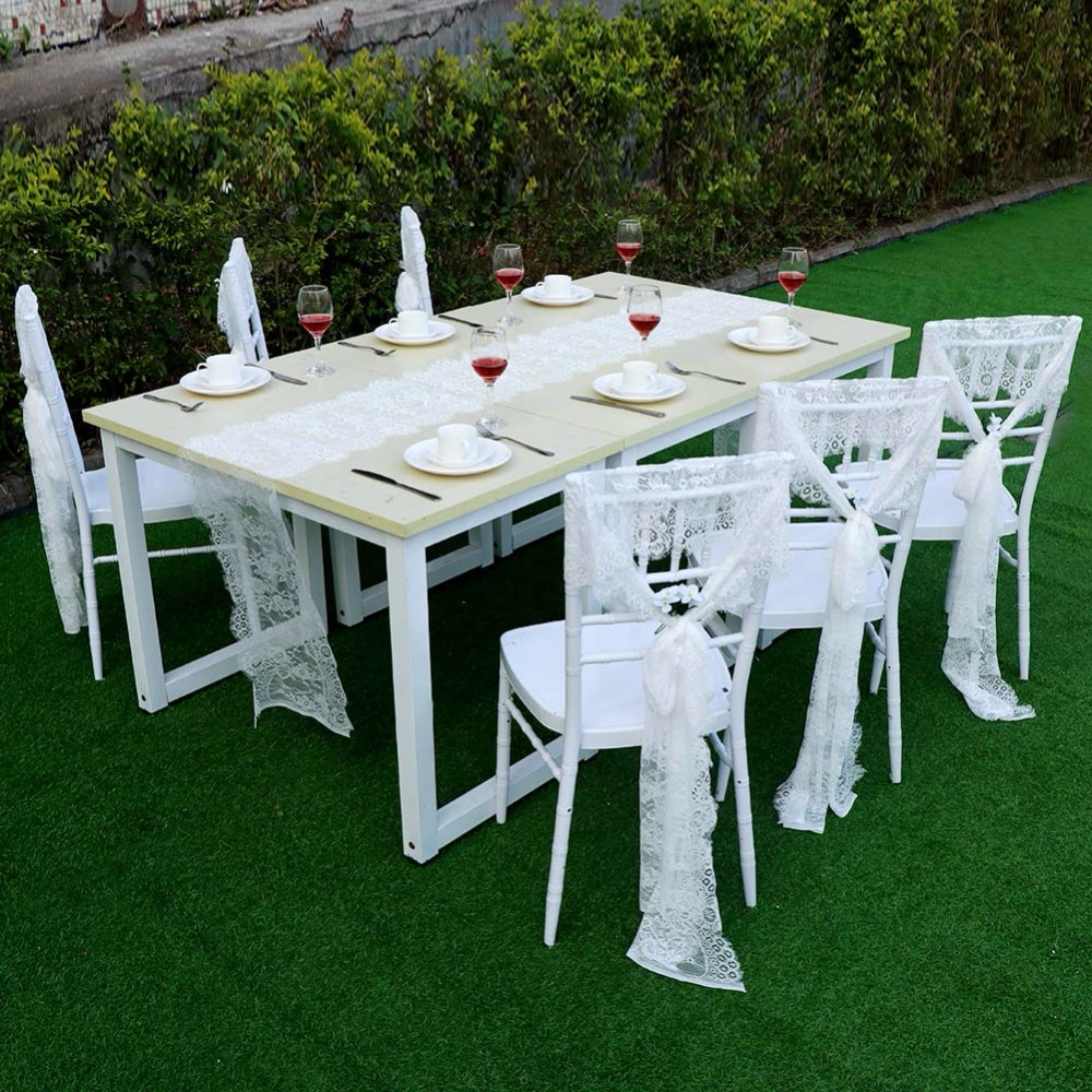 Ourwarm 35x300cm Wedding Chair Sashes Fl White Lace Bow Baby Shower Birthday Party Decoration Home Textile In From Garden On