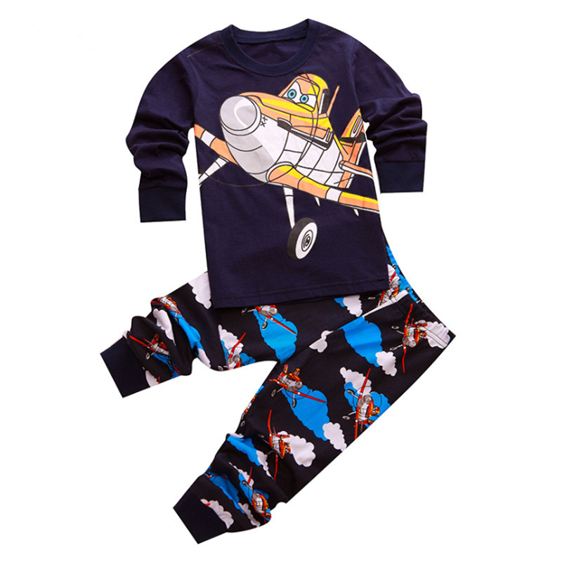 New childrens clothing boys fashion cute cartoon cotton two-piece childrens long-sleeved printing casual home service