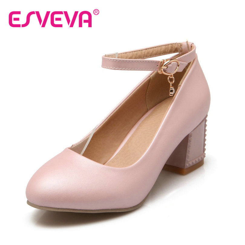 ESVEVA Square Heels Women Pumps Ankle Strap Round Toe Solid Pu Soft Leather Spring/Autumn Girls Party Shoes Size 34-43 Pink xexy small square toe medium heels natural leather women shoe spring autumn buckle strap dance party sweet platform women pumps
