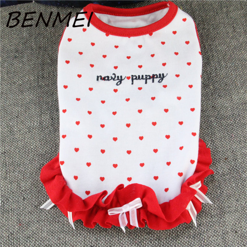 BENMEI Dogs Pets Bowknot Clothing Summer Dog Wedding Dress Red Lovely Pattern Letter Printing Fashion Vest Dresses