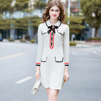 Europe Fashion Casual Spring And Summer Plus Size Peter Pan Collar Long Sleeve Bowknot Fake Pocket White Women Dresses