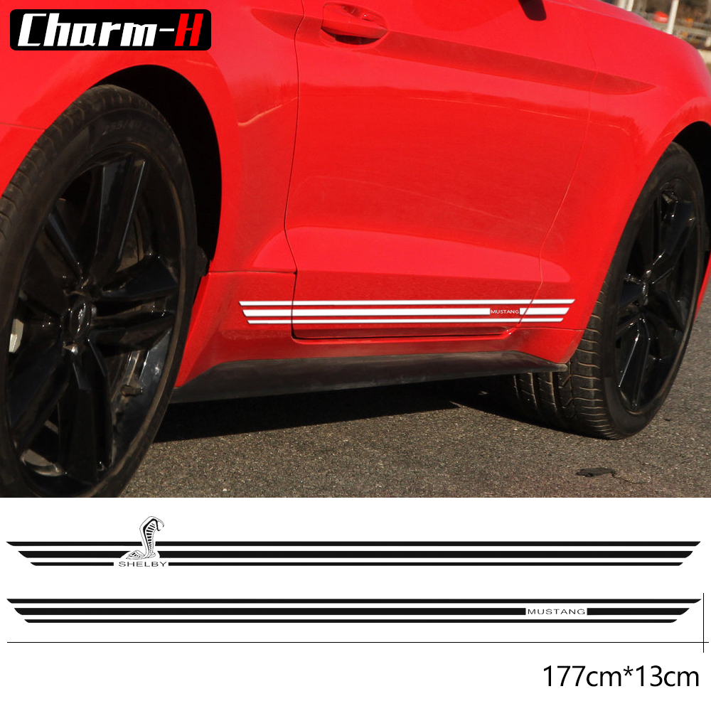 2pcs For Ford Mustang 2015-2017 Cobra Style Rocker Panel Door Side Stripes Decals Shelby Racing Graphic Stickers