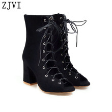 ZJVI 2019 woman mid calf boots for women summer square high heels sandal ladies cross tied shoes sandals sandalias mujer