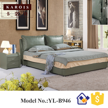 platform bed frame leather loft bedroom furniture simple double bed(China)