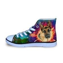 German Shepherd Printed Canvas Shoes For Men Autumn Flats School Teen Boys Sneakers Ultralight Comfort Loafers Size 29-34