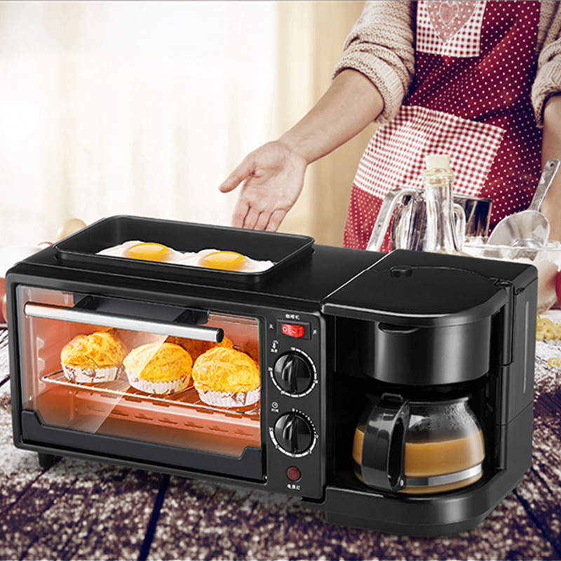 Three in one coffee maker electric oven Home breakfast machine toaster grill pan bread toaster цена 2017