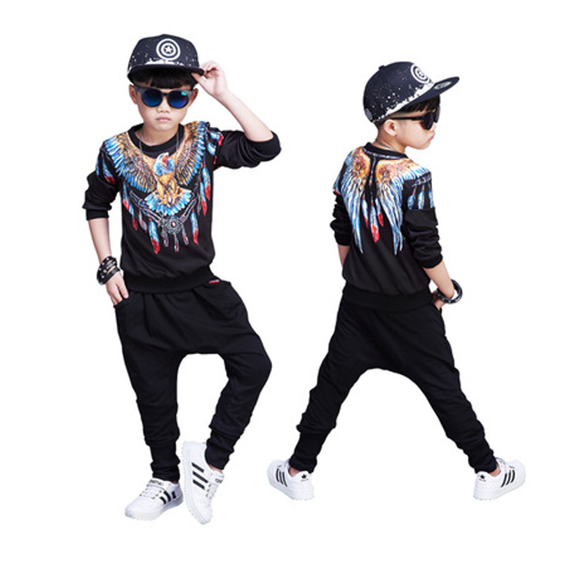 Children Autumn Spring boys hip hop suit Full sleeve Sweatshirts + Haren Pants trousers 2Pcs sets For 4-12 Year vetement garcon