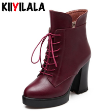 Kiiyilala Brand Super High Heel Women Boots Round Toe Platform Boots With Lace Ladies Ankle Boots Shoes Woman Leather Booties hot new square toe women ankle boots black patent leather short booties high heel side zip luxury brand super star runway shoes