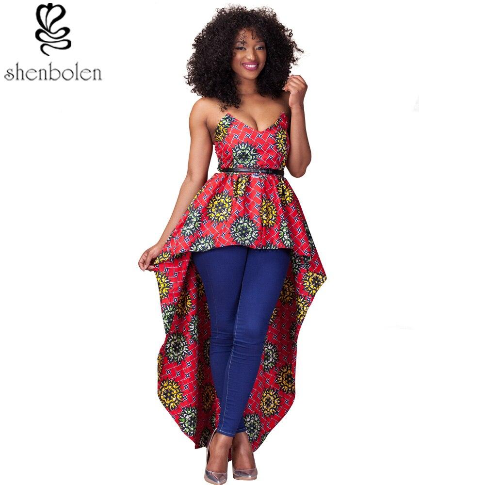 a9d42f811f5de الملابس الأفريقية للنساء dashiki أنقرة الشمع الطباعة الباتيك القطن الخالص  الأزياء مثير غير النظامية أكمام أعلى