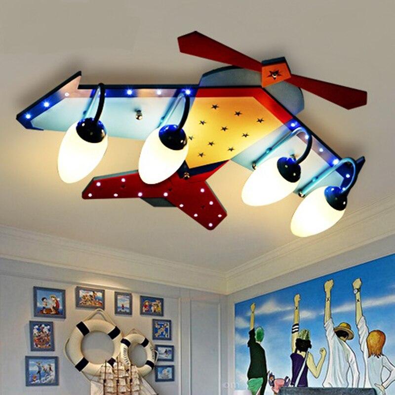 US $175.75 5% OFF|4 köpfe LED cartoon flugzeug kind lampe glas holz decke  lampe kinderzimmer schlafzimmer licht bunte junge mädchen Kid sterne ...