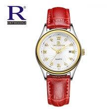 Señoras de La Manera Mujeres Del Reloj de Cuarzo Rhinestone de Cuero Casual Hombres Relojes de Oro Rosa de Cristal de regalo mujer RON reloje montre femme