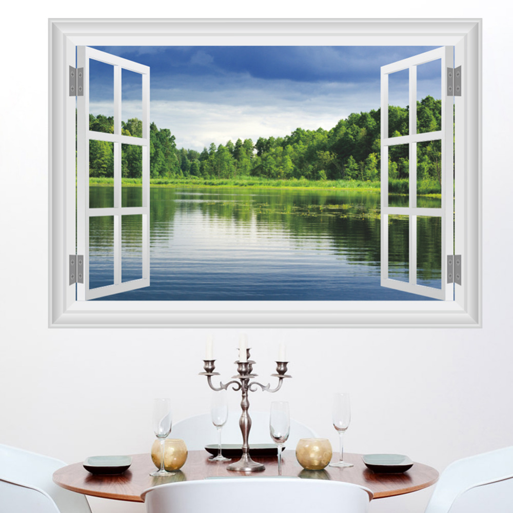 Bedroom Art Supplies: Aliexpress.com : Buy 3D Window Lake Wall Decals Removable