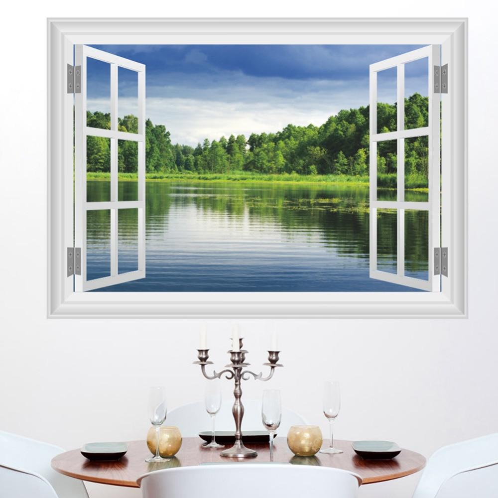 Bedroom Art Supplies: 3D Window Lake Wall Decals Removable Art Decor Decorative