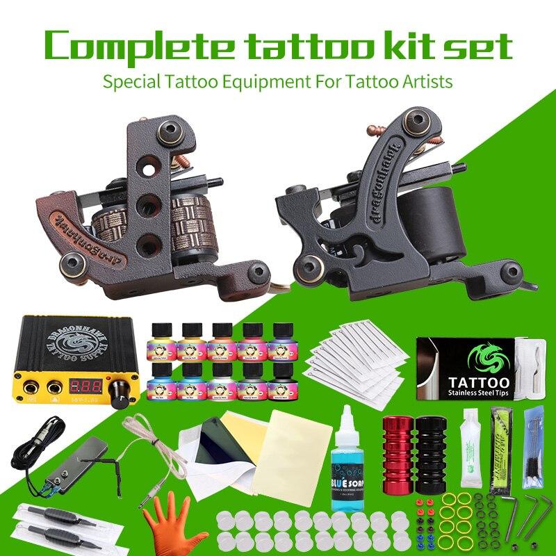 Professionnel Kits Complets De Tatouage Ensemble Tatouage Machine Alimentation 2 guns Immortel Couleur Encres De Tatouage Fournitures