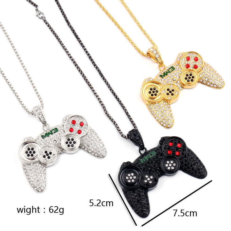 Hip-hop Jewelry Game Console Handle Necklace Pendant Gold Chain Crystal Necklace Charms For Children Boys Gifts