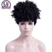 MSIWIGS krótkie peruki syntetyczne z kręconymi włosami dla czarnych kobiet 1B czarny amerykański afryki peruka afro włosy wysokiej temperatury włókna