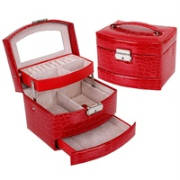 Wholesale Korean Leather Jewelry Box Storage Box Candy Colored Multifunction Jewelry Box Jewel Case For Gift