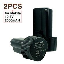 2 UNIDS 10.8 V 2000 mAh Teléfono Inalámbrico batería para Herramientas Eléctricas para Makita BL1013 2.0Ah batería Recargable de IONES de Litio LCT204 DF330D TD090D