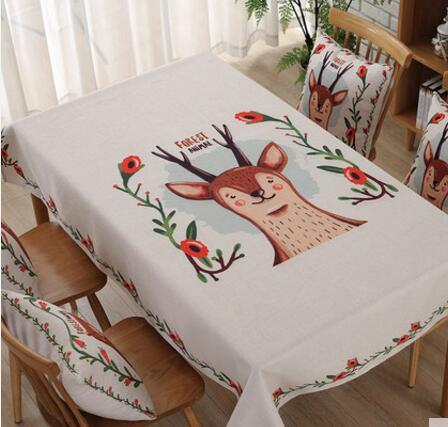 cartoon deer/bear/fox printed thick cotton linen table cloth anti-oil tea table cover towel decorative tablecloth home decor