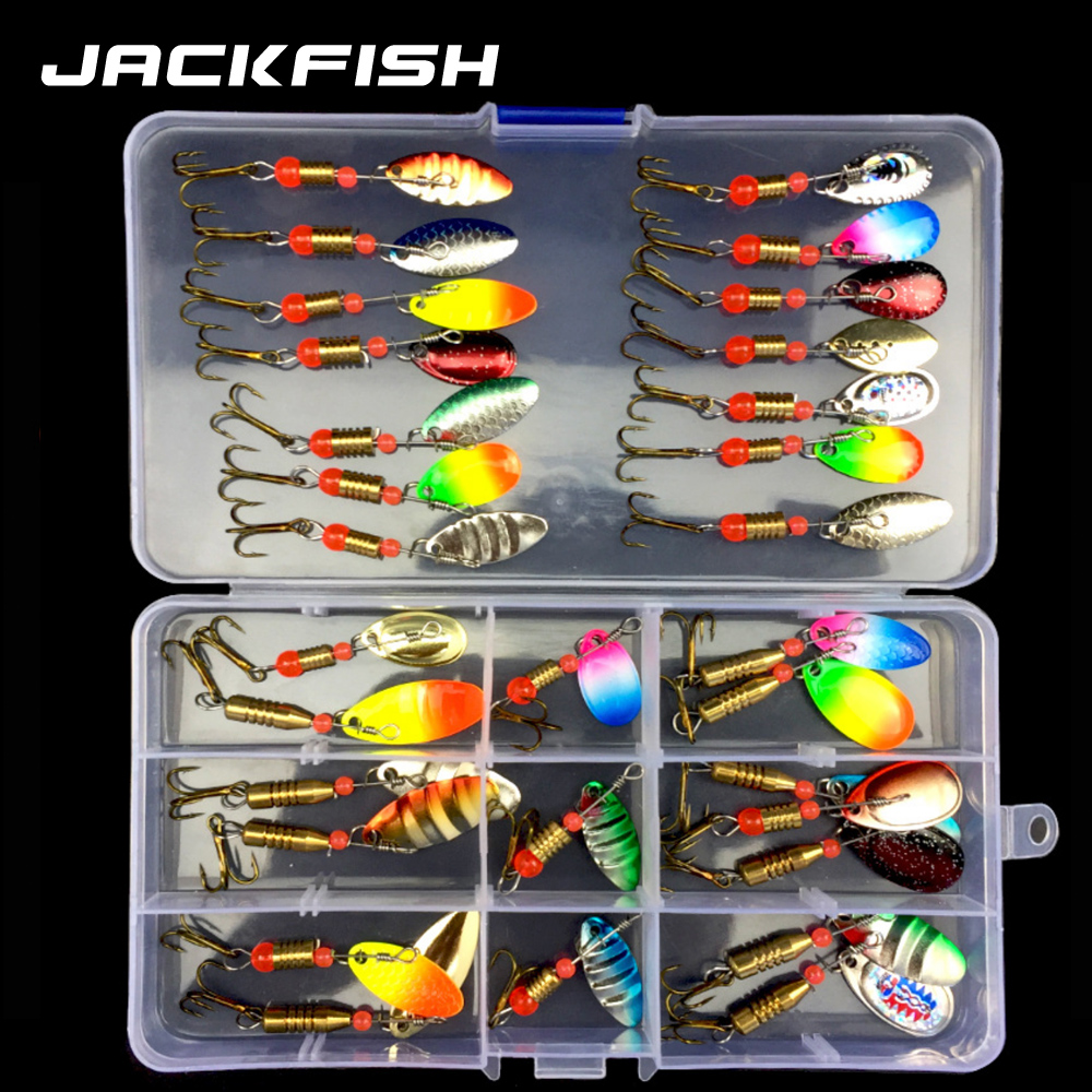 JACKFISH Spoon Lure Set Hard Bait Spinner Fishing Lure Fishing Tackle Atificial Bait With Hook Pesca Bass Lure Metal Sequin Bait