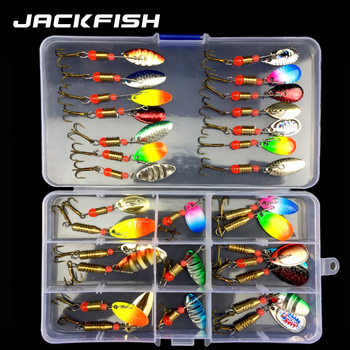 JACKFISH Spoon Lure Set Hard Bait Spinner Fishing Lure fishing tackle Atificial Bait with hook pesca Bass Lure Metal Sequin Bait fishing bait fish lure hook twist spoon crankbaits spinner accessory tool tackle 20 12