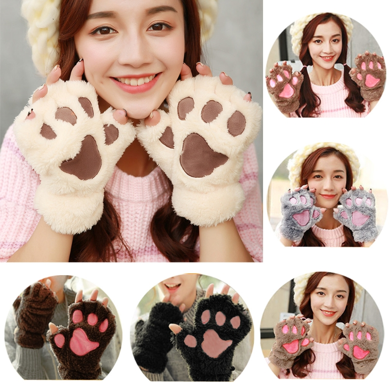 14 Colors Winter Women Cute Cat Claw Plush Fingerless Gloves Short Fingerless Paw Half Finger Mittens Hot!